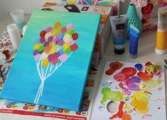 Schilderij met ballonnen - DIY   Lisanne Leeft Diy For Kids, Art Sketches, Plastic Cutting Board, Painting, Canvas, Draw, Fun, Inspiration, Decor