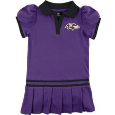 Baltimore Ravens Infant Purple Rib Dropped Waist Polo Dress by NFL. $21.99. Dress your little Ravens fan in the latest team threads with this Baltimore Ravens Infant Purple Rib Dropped Waist Polo Dress. This Baltimore Ravens dress features vibrant team colors, embroidered graphics and a cute, pleated skirt. With this piece of Ravens team gear, your little one will become the ultimate fan.