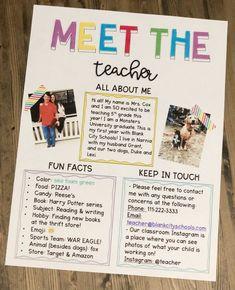 Meet The Teacher Letter - Editable - Lehrer Teacher Hacks, Teacher Organization, Teacher Survival, Survival Kit, Teacher Stuff, Teacher Shoes, Student Teaching, School Teacher, School Nurse Office
