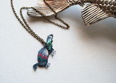 Ferret Necklace / Chevron Necklace / Chevron by PeriwinkleNuthatch, $22.00