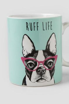 The Ruff Life Dog Mug is the perfect mug to drink your favorite morning cup from! This ceramic mint and white mug features an adorable dog with pin...