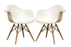 Pascal White Plastic Chair Qty 2 by Whole-Sale Interiors. $172.10. Chair measures 24 inches wide x 24 inches deep x 30.5 inches high. Seat height is 17 inches and seat depth is 17 inches. Arm height measure 26.8 inches high. Color White. The retro simplicity of these classic white accent chairs will instantly enhance the modernity of your room. Each of these contemporary chairs is made from durable molded plastic with an ergonomically-shaped and curved seat. The leg...
