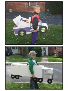 Truck costumes @kbbuc  Will is insisting on a hess truck driver costume... Wtffff???  So I'm thinking maybe we can make a cardboard hess truck and attach it to the power wheel... I doubt he would wear it like the the pic...  Lol...