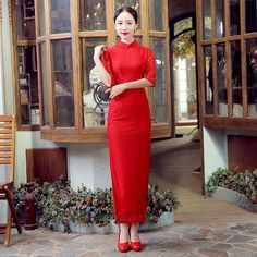 Red New Arrival Chinese FemaleTradition Qipao Women's Lace Long Cheong-sam Tang Suit Dress Vestido De Festa Size S M L XL XXL