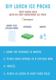 DIY Lunch Ice Packs. Brilliant!! Only two ingredients already in your kitchen.
