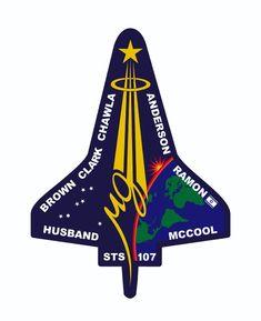 STS-107 Flight Crew patch -- Brown, Clark, Chawla, Anderson, Ramon, McCoo, Husband ---Columbia---January 16, 2003 - February 1, 2003