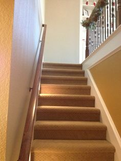 Home Remodel Design for Christmas : Comfortable Carpet Design Applied On Indoor Staircase Design IDea With Wooden Handrail Design Ideas In B...