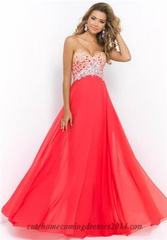 Blush 9998 Sparkly Bead Strapless Long Prom Dresses 2015