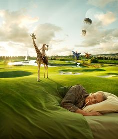 The surreal quality in his work almost looks real. I really enjoy the way the grass looks like a blanket.