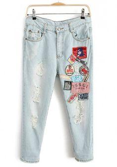 Blue Patchwork Button Fly Nine's Skinny Denim Jeans