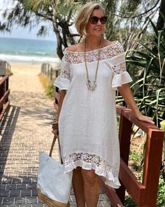 A gorgeous dress is a summer necessity and this cream dress makes Linda feel oh so feminine with it's sheer lace detail and easy relaxed… Simple Dresses, Casual Dresses, Boho Fashion, Fashion Outfits, Latest African Fashion Dresses, Linen Dresses, Fashion Over 50, Mode Style, Dress Patterns