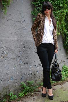 Black skinnies, White collared buttondown, Leopard blazer, Black spiked platform heels, Black slouchy handbag, Black sunnies