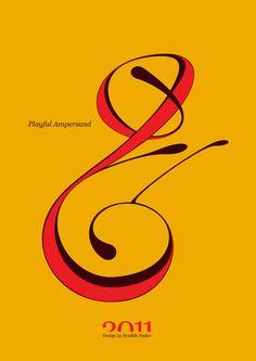 #Playful #Ampersand. #Moshik Nadav #Typography.        #ampersands #experimental #typography #typo #font #fonts #type #fashion #sleek #deep #hues #graphic #art #yellow #red #mustard #yellow