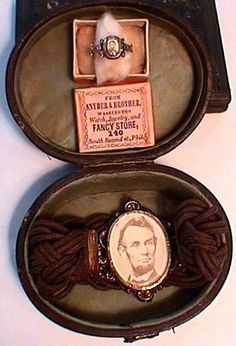 Mourning jewelry worn by Mrs. Joel Gutman of Baltimore, Maryland in 1865.- some amazing Lincoln memorial items!
