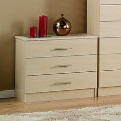 Dallas Wide Chest of 3 Drawers - Birch Effect George £69.00