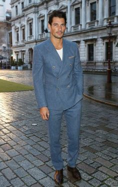 David Gandy, attending the Royal Academy Summer Exhibition Preview, London, UK. June 4, 2014. Suit by Reiss