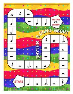 Rhythm Round About* -- For a more advanced version, play with a pair of Advanced Rhythmic Values dice from colorinmypiano.com (printed on colored card stock that coordinates with game board, of course!).  Players add or subtract values of notes to determine where to move.  If a player rolls the same value on both dice, they can choose to switch places with another player.  Must get a value of 4 at end to win.