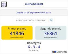 Resultados del sorteo del Jueves 01 de Septiembre de 2016. ¡¡ Comprueba tu décimo !! #LoteríaNacional