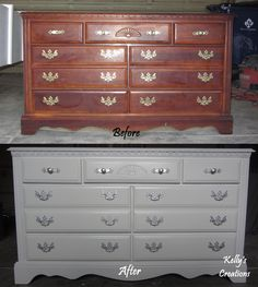 Before And After Cherry Dresser Hand Painted In Bright White With Silver Handles Refinished By