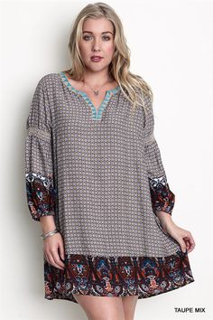 Plus Size Dress Tunic Boho Hippie Shift Taupe Rust Teal Trim XL 1XL 2XL