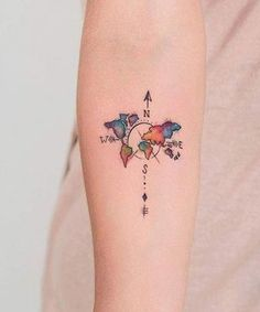 New Creative Map and Compass Forearm Tattoo Design for Girls