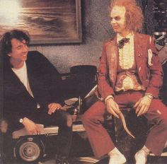"Tim Burton and Michael Keaton on the set of ""Beetlejuice"""