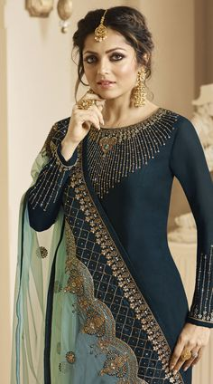 Satin Georgette Designer Drashti Dhami Churidar Suit for Party Wear Party Wear Indian Dresses, Salwar Suits Party Wear, Churidar Suits, Salwar Kameez, Indian Outfits, Sharara, Indian Clothes, Embroidery Suits Design, Embroidery Dress