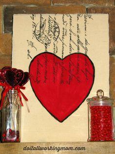 DIY Valentines Day Canvas Heart