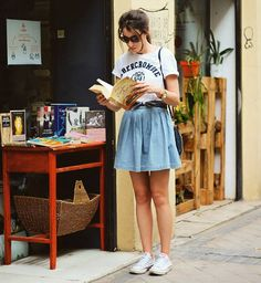Trendy Denim Skirt With Converse