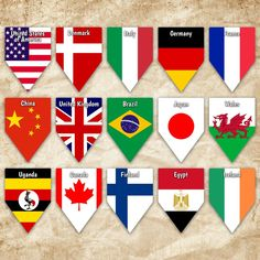 World Flags Printable Banner Includes 65 flags with names | Etsy Flags With Names, All Flags, Flags Of The World, World Flags Printable, Printable Banner, Printables, Wedding Photo Booth Props, Flag Banners, Bunting
