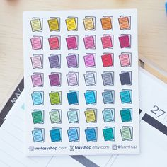 42 Essay Papers Doodles | Colourful Hand Drawn Sticker Planner by FasyShop on Etsy
