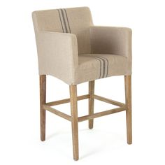 Evoking a cottage-chic aesthetic, the Adeline bar stool stuns at countertops. Guests delight in the plush seating, the padded arms offering extra comfort. A slipcovered linen fabric in a neutral colorway matches any decor style, while a blue stripe adds a contrasting pop. 23in W x 23in D x 43in H; Seat: 18in Diameter x 29.5in H; Armrest: 38in H. Minimum order of 2. Professional upholstery cleaning only.