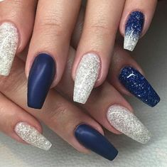 Fall Nails Navy Blue Coffin Lengthy Winter Matte - ArtToNail coffin nails navy b. Navy And Silver Nails, Blue And White Nails, Blue Matte Nails, Blue Ombre Nails, Navy Nails, Coffin Nails Matte, Blue Acrylic Nails, Silver Nail Designs, Acrylic Nail Designs