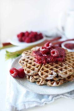 Vegan Buckwheat waffles with a rhubarb-raspberry compote