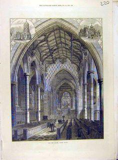 1872 Chapel Rugby School Building Victorian Print