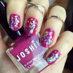 """Happy #ManicureMonday!  Today Im rockin' a nail polish that was featured in Aprils @vegancuts Beauty Box - @joshikpolish's """"254."""" This shade is a fun berry/beet pink crème and I couldnt help but to livin up my digits with some bright neon confetti too using @polishmesilly2'S """"Beach Party."""" Which #crueltyfree nail polish are you currently sporting?  #vegan #free"""