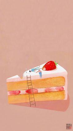 Very big strawberry cake^^ Birthday Cheers, Happy Birthday Messages, Happy Birthday Greetings, Birthday Images, Birthday Wishes, Happy Birthday Illustration, Cake Illustration, Food Illustrations, Cake Wallpaper