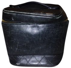 Black Cosmetic Case Quilted Leather Vanity Clutch – Bagriculture