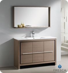 "Fresca Allier 48"" Gray Oak Modern Bathroom Vanity w/ Mirror with Shelf & Faucet"