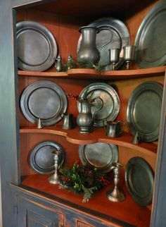 pewter collections on shelves - Google Search