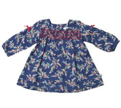 Bebe by Minihaha - 'Maple' Print L/S Dress with Smocking