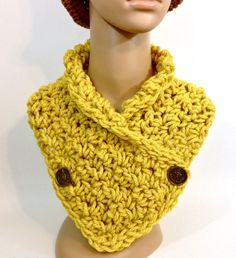 Button Up Cowl Mustard Yellow w\ Coat of Arms Antique Brass Shank Vintage Buttons Chunky Gold Neckwarmer Autumn Accessories Fall Gifts Women $25.00