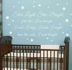 Le Little Star Vinyl Wall Decal Boy Baby Nursery Quote Poem Saying Moon Stars Art X I Like The Blue With White