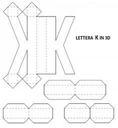 Lettera 3d Fai Da Te | Letras 3d Molde, Letras Em 3d, Molde Caixa 5F7 3d Letters, Cardboard Letters, 3d Alphabet, Alphabet Templates, Letter Standee, Plaster Crafts, Writing Numbers, Diy Gift Box, Origami