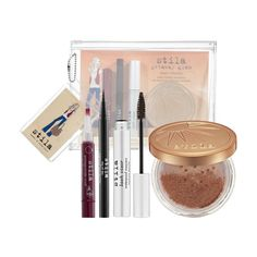 Stila Getaway Glam Resort Collection $38 (2010) Contains:  - 0.2 oz Mineral Bronzing Powder: This 100% natural finishing powder, infused with genuine 24kt gold - 0.2 oz Pomegranate Crush Lip & Cheek Stain (Deluxe Size):   - 0.016 oz Stay All Day Waterproof Liquid Eye Liner in intense carbon black  - 0.28 oz Lash Visor Mascara (Black):