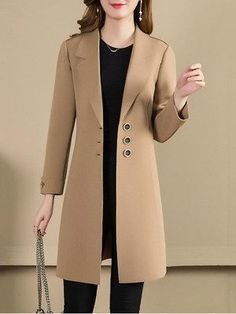 Notch Lapel Plain Trench Coat , Buy Affordable And Fashionable Women's clothing Online. Buy Shoes, Bags, Dresses Etc. Coat Outfit, Coat Dress, Mode Mantel, Classy Winter Outfits, Dresses Elegant, Stylish Dresses, Trench Coat Style, Plaid Coat, Jackett