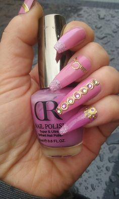 Pink coffin nails with gold stickers nail art by Yemaya