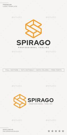 Letter S - Spirago Logo - Abstract Logo Templates Logo Design Template, Logo Templates, Portfolio Logo, Abstract Logo, Best Logo Design, Letter Logo, Cool Logo, Presentation, Lettering