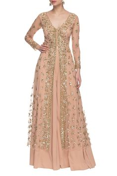 Mar 2020 - Buy Soft peach & gold sequin embellished palazzo set by Astha Narang at Aza Fashions Party Wear Long Gowns, Party Wear Indian Dresses, Designer Party Wear Dresses, Indian Gowns Dresses, Dress Indian Style, Indian Fashion Dresses, Indian Designer Outfits, Pakistani Dresses, Bridal Anarkali Suits