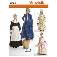 These historically-themed Child's and Girls' costume dresses will serve for a prairie settler, Quaker, colonial, or more courtly young lady. Simplicity sewing pattern from Andrea Schewe.